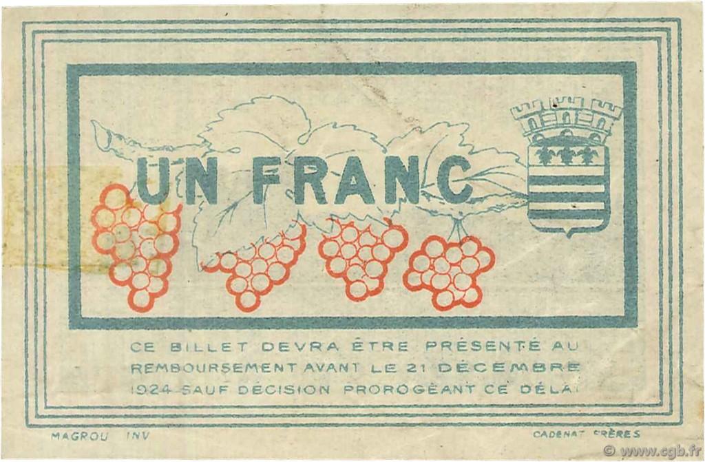 1 franc france r gionalisme et divers b ziers 1920 ttb sup c027 28s billets. Black Bedroom Furniture Sets. Home Design Ideas