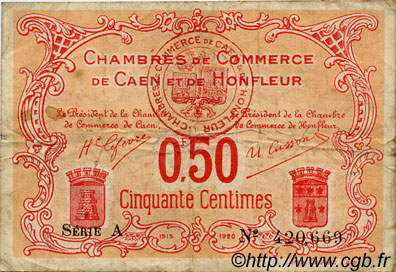 50 centimes france r gionalisme et divers caen et honfleur 1918 c034 12t billets. Black Bedroom Furniture Sets. Home Design Ideas