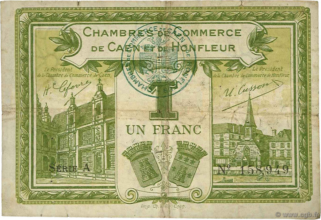 1 franc france r gionalisme et divers caen et honfleur 1918 c034 14t billets. Black Bedroom Furniture Sets. Home Design Ideas