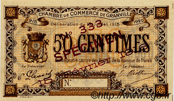 50 Centimes Spécimen FRANCE regionalism and various Granville 1915 JP.060.03 VF - XF