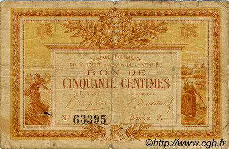 50 centimes france r gionalisme et divers la roche sur yon 1915 c065 01t billets. Black Bedroom Furniture Sets. Home Design Ideas