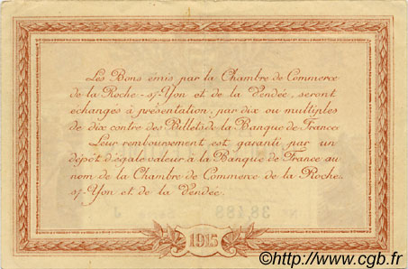 50 centimes france r gionalisme et divers la roche sur yon 1915 ttb sup c065 23s billets. Black Bedroom Furniture Sets. Home Design Ideas