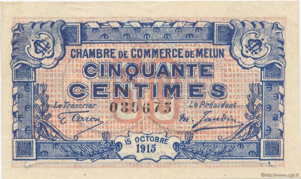 50 centimes france r gionalisme et divers melun 1915 c080 01n billets. Black Bedroom Furniture Sets. Home Design Ideas