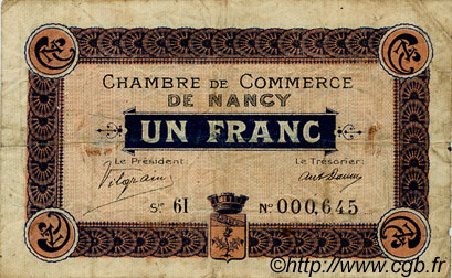 1 Franc  FRANCE régionalisme et divers Nancy 1917 JP.087.13 TB