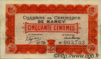 50 Centimes FRANCE régionalisme et divers Nancy 1917 JP.087.14 TTB à SUP