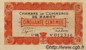 50 Centimes FRANCE régionalisme et divers Nancy 1918 JP.087.22 TTB à SUP