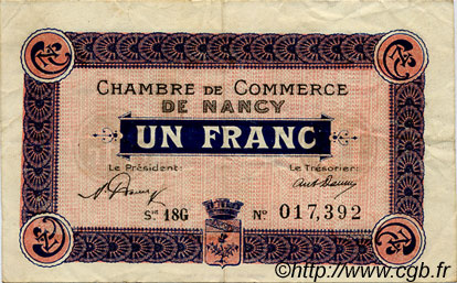 1 Franc FRANCE régionalisme et divers Nancy 1920 JP.087.39 TTB à SUP
