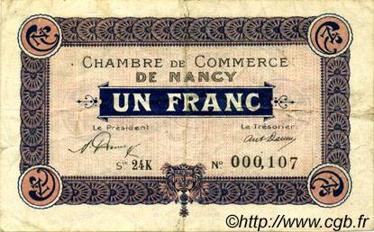1 Franc FRANCE régionalisme et divers NANCY 1921 JP.087.44 TTB à SUP