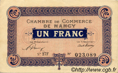 1 Franc FRANCE régionalisme et divers Nancy 1921 JP.087.49 TTB à SUP