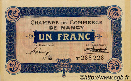 1 Franc FRANCE régionalisme et divers Nancy 1922 JP.087.54 TTB à SUP