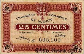 25 Centimes FRANCE régionalisme et divers NANCY 1918 JP.087.57 TB