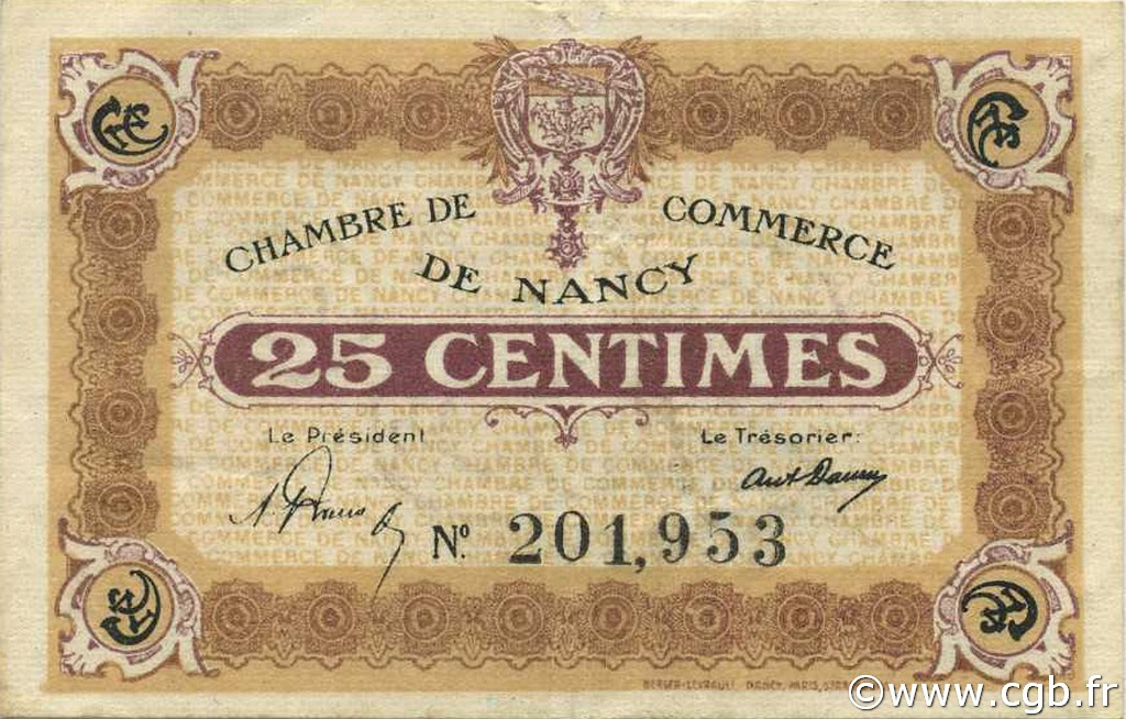 25 Centimes FRANCE régionalisme et divers Nancy 1918 JP.087.58 TB