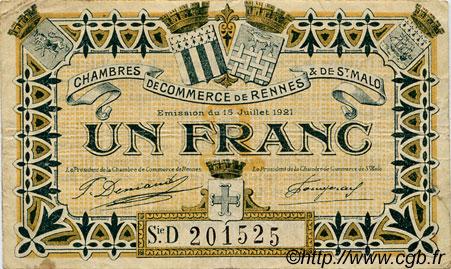 1 Franc FRANCE RENNES et SAINT-MALO 1921 JP.105.20