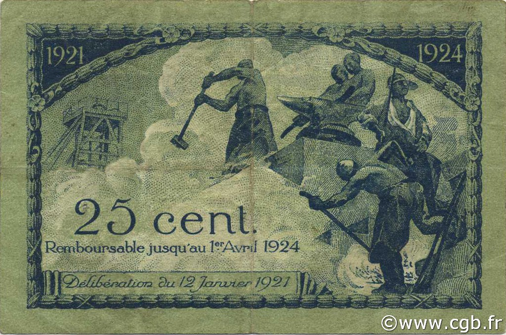FRANCE 25 Centimes-12 Janvier 1921