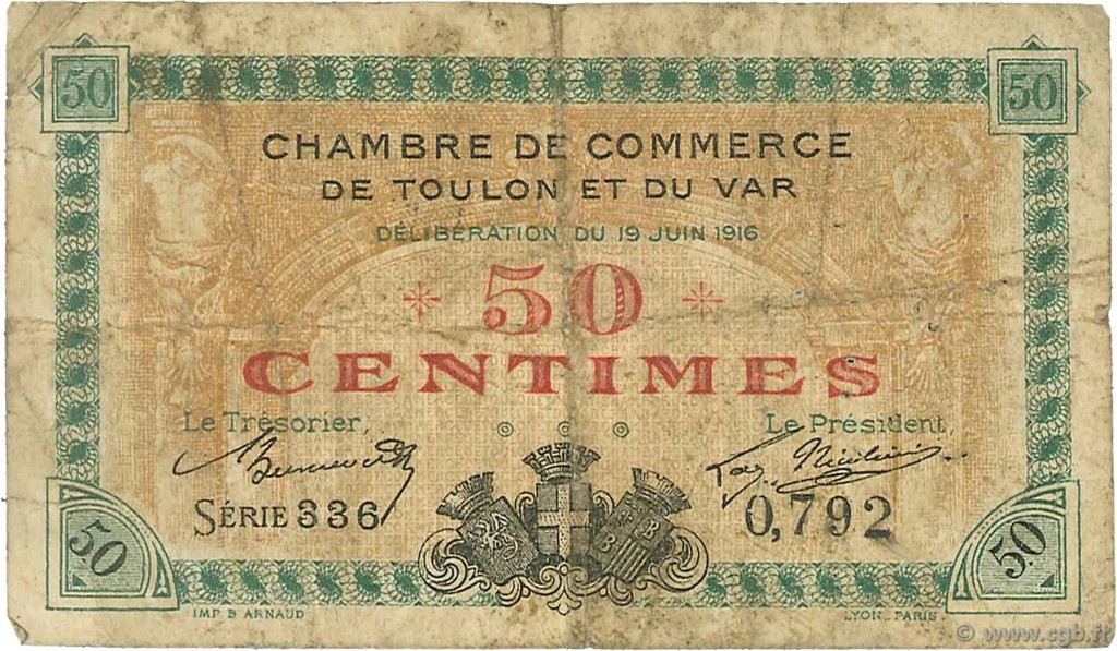 50 centimes france regionalism and various toulon 1916 f c121 01t banknotes. Black Bedroom Furniture Sets. Home Design Ideas