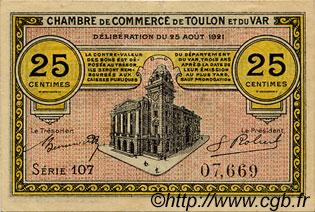 25 centimes france r gionalisme et divers toulon 1921 ttb sup c121 33s billets. Black Bedroom Furniture Sets. Home Design Ideas
