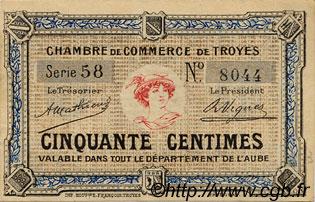 50 centimes france r gionalisme et divers troyes 1918 c124 05n billets. Black Bedroom Furniture Sets. Home Design Ideas