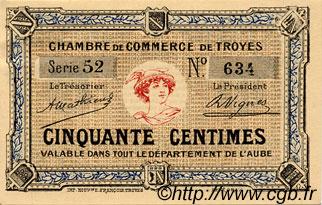 50 centimes france r gionalisme et divers troyes 1918 ttb sup c124 05s billets. Black Bedroom Furniture Sets. Home Design Ideas
