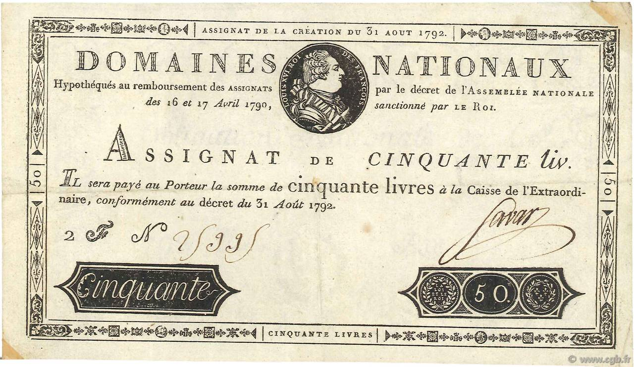 50 Livres FRANCE  1792 Ass.32a SUP+