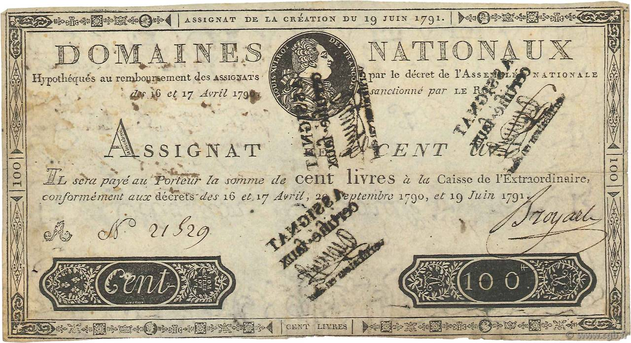 100 Livres FRANCE  1791 Ass.15b TTB