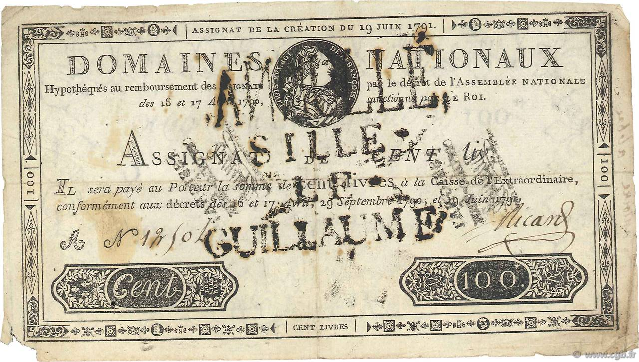 100 Livres FRANCE  1791 Ass.15b TB+