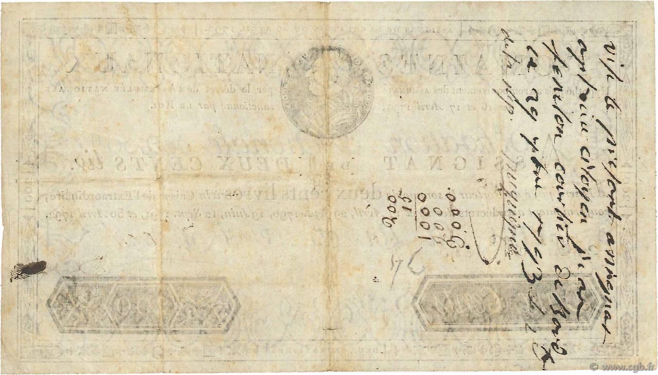 200 livres france 1792 ttb 4010037 billets - 200 euros en livres ...