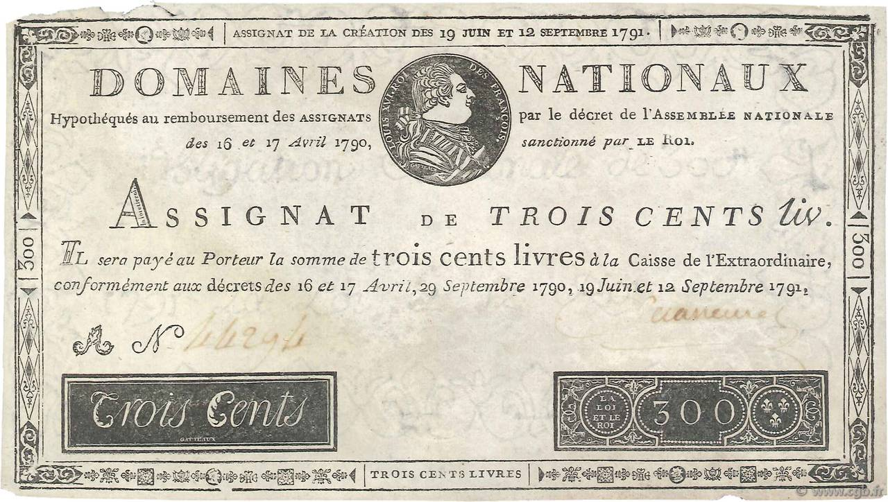 300 Livres Faux FRANCE  1791 Ass.18b TTB