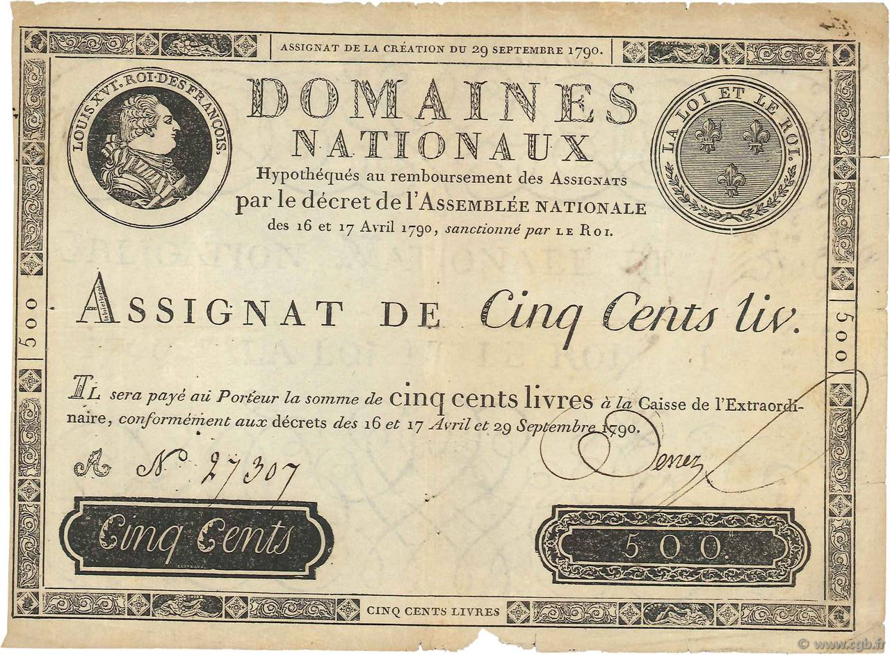 500 Livres FRANCE  1790 Ass.10a TTB
