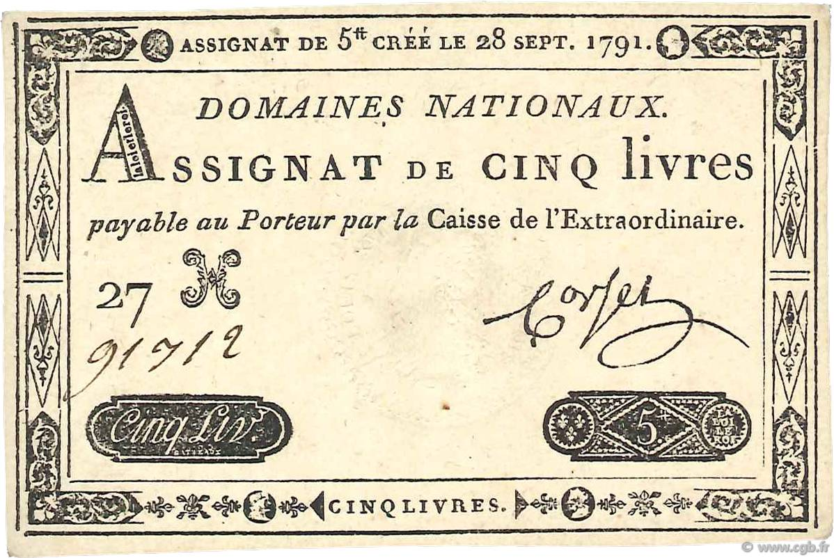 5 Livres FRANCE  1791 Ass.19a UNC