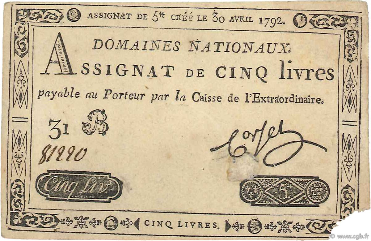 5 Livres FRANCE  1792 Ass.27c TB