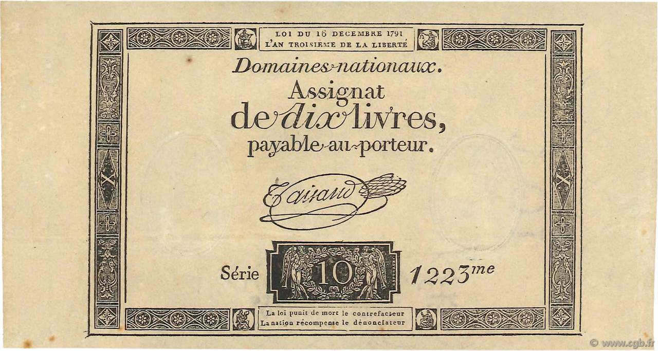 10 Livres FRANCE  1791 Ass.21a SPL