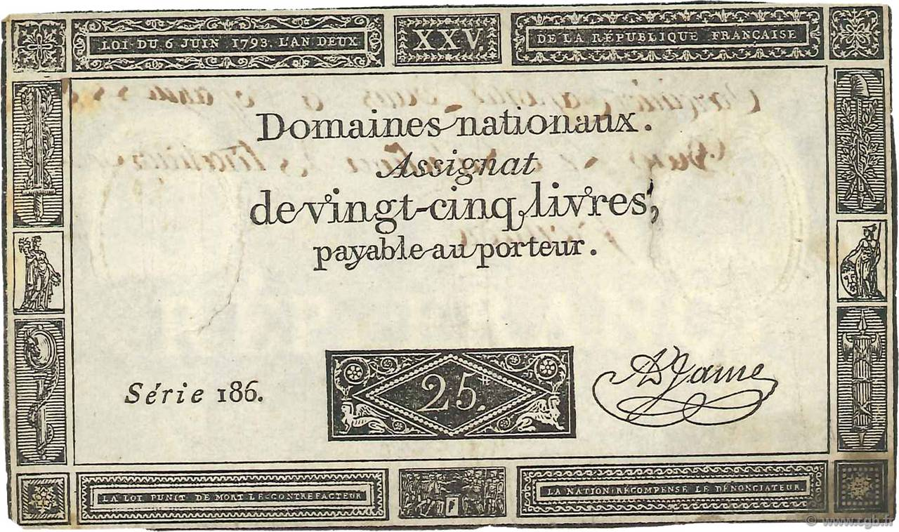 25 Livres FRANCE  1793 Ass.43a VF