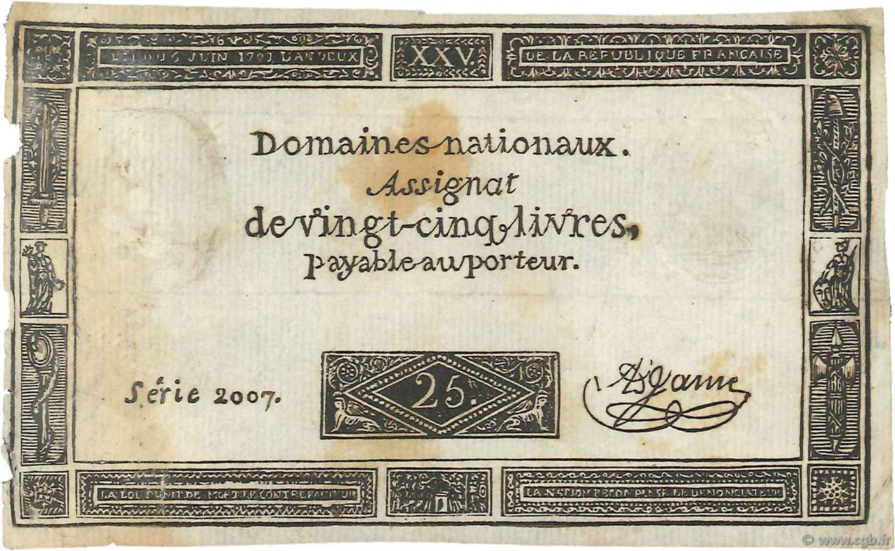 25 Livres Faux FRANCE  1793 Ass.43c TTB+