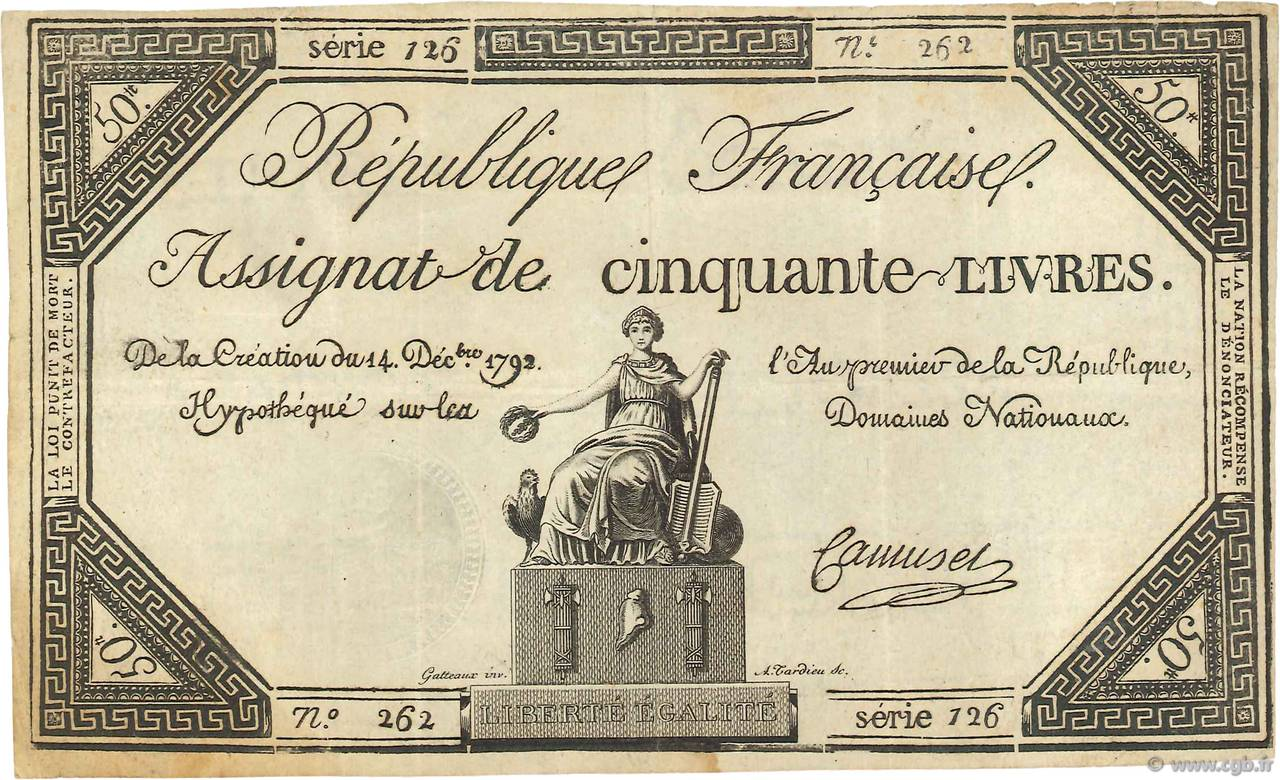 50 Livres Faux FRANCE  1792 Ass.39f TTB+