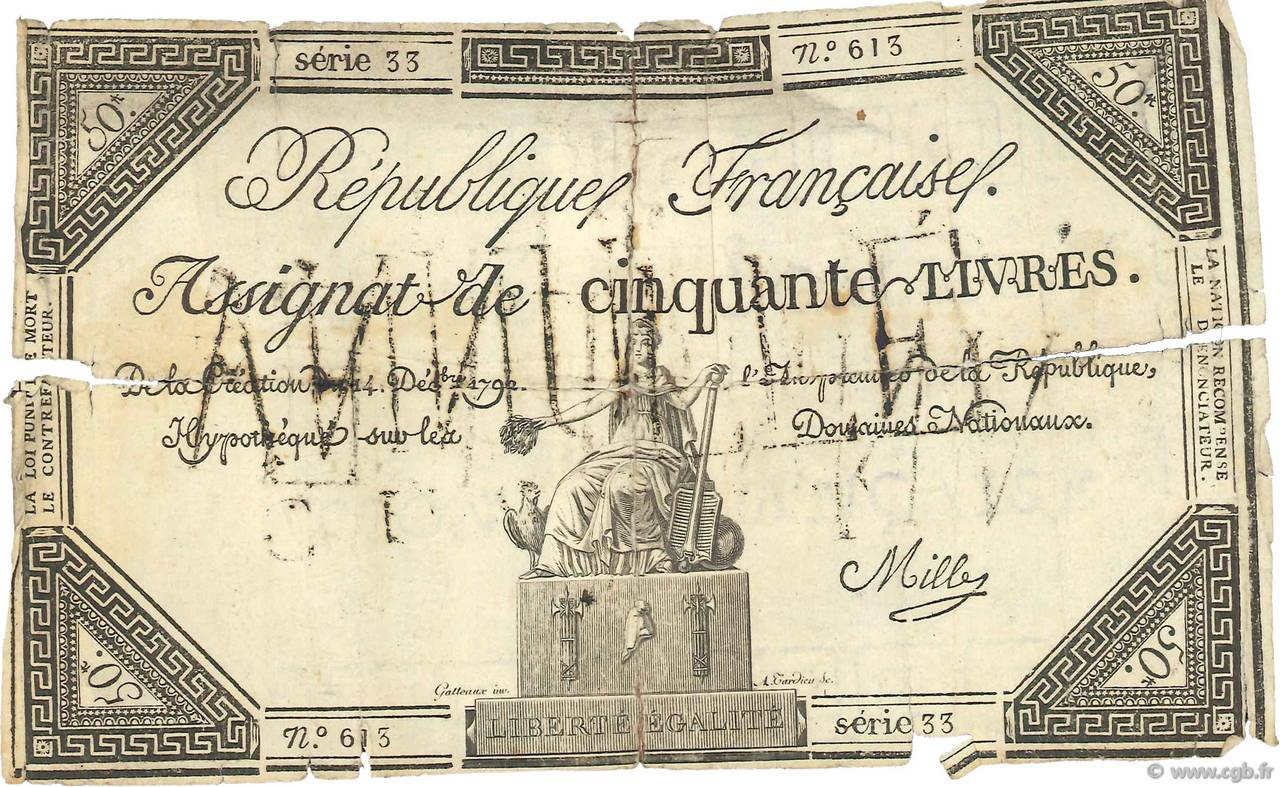 50 Livres Faux FRANCE  1792 Ass.39f var G