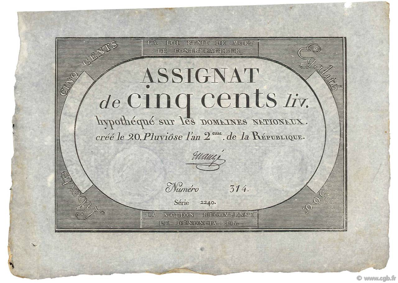 500 Livres FRANCE  1794 Ass.47a XF+