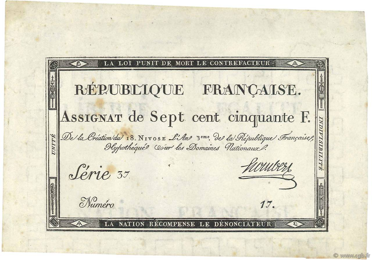 750 Francs Vérificateur FRANCE  1795 Ass.49b SUP+