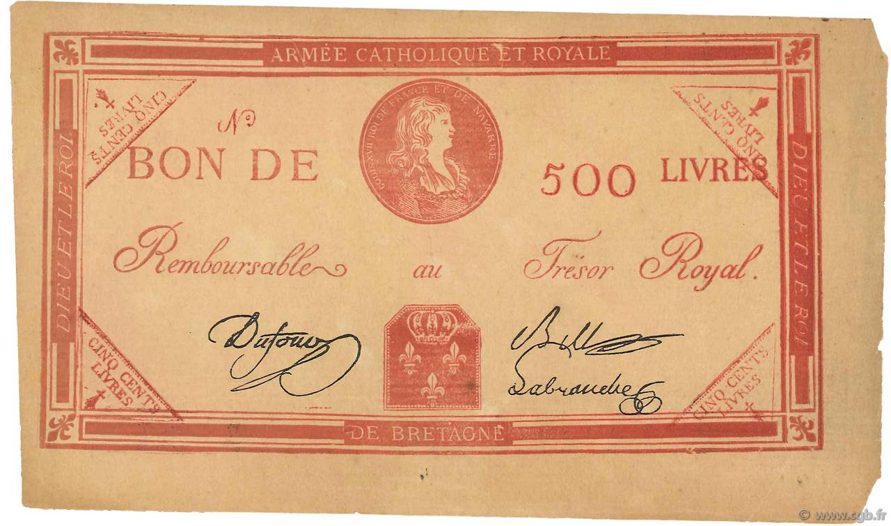500 Livres Faux FRANCE  1794 Laf.278 XF+