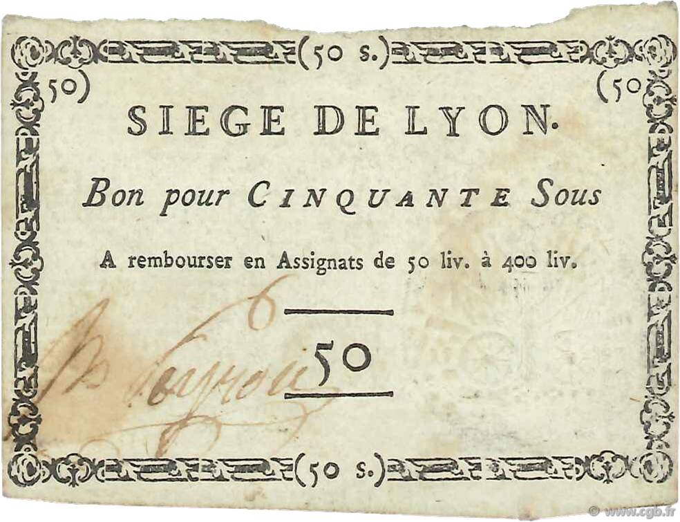 50 Sous FRANCE regionalism and miscellaneous  1793 Kol.81d XF