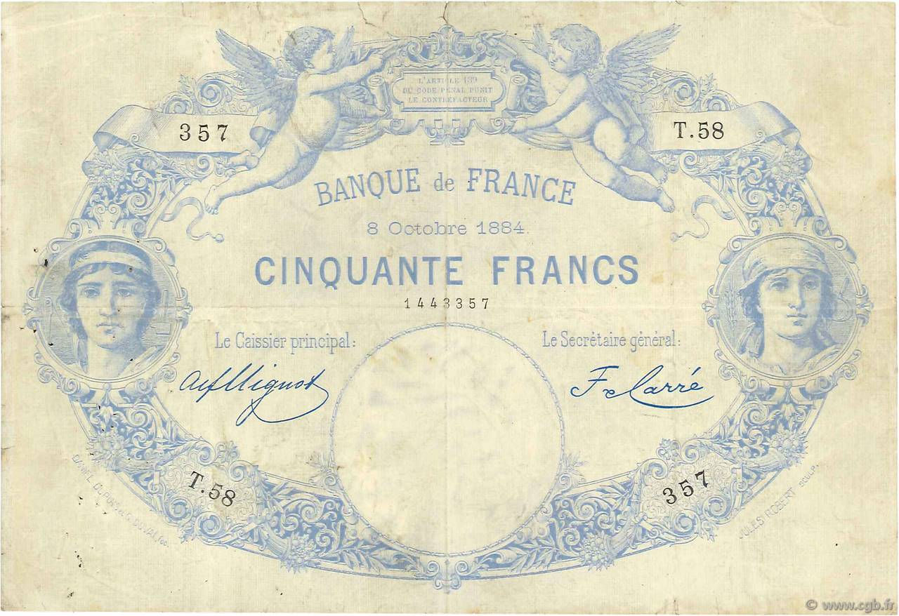50 Francs type 1884 Indices Noirs FRANCE  1884 F.A47.01 F+