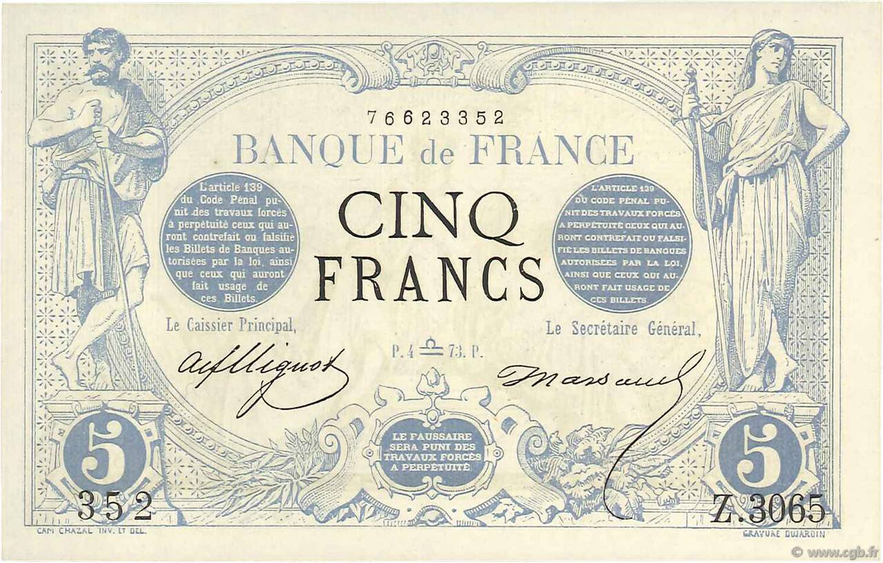 5 Francs NOIR  FRANCE  1873 F.01.22 SPL+