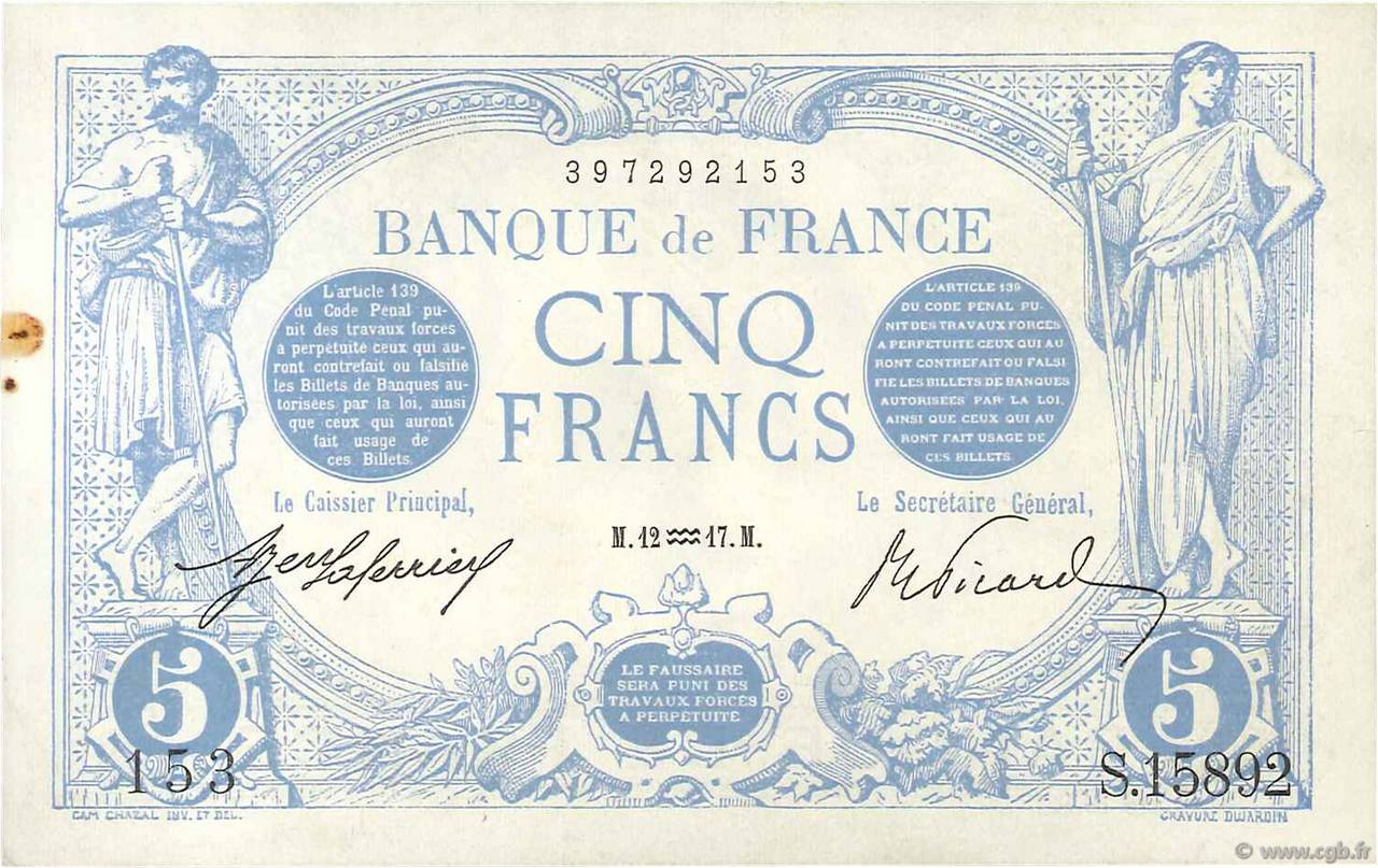 5 Francs BLEU FRANCE  1917 F.02.47 SPL