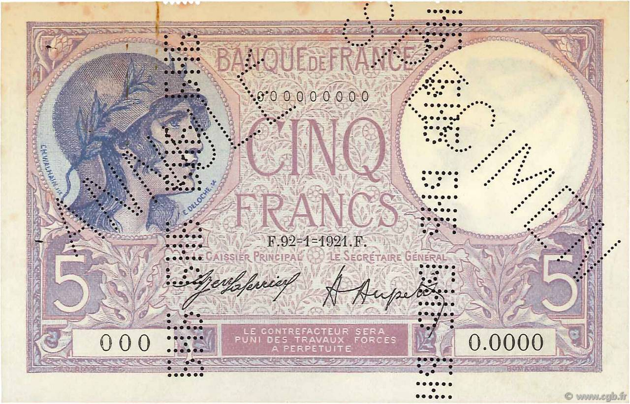 5 Francs VIOLET Spécimen FRANCE  1921 F.03.05Sp XF