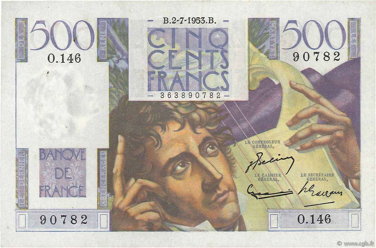 500 Francs CHATEAUBRIAND FRANCE  1953 F.34.13 VF+