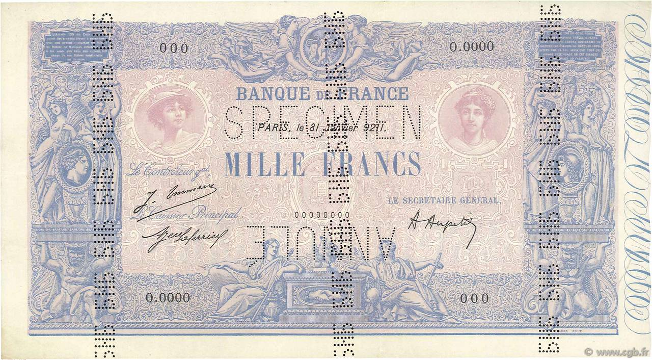 1000 Francs BLEU ET ROSE FRANCE  1921 F.36.00s1b SUP