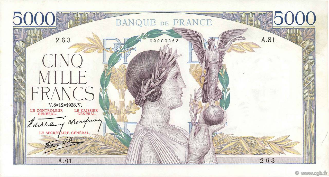 5000 Francs VICTOIRE Impression à plat FRANCE  1938 F.46.01 SUP
