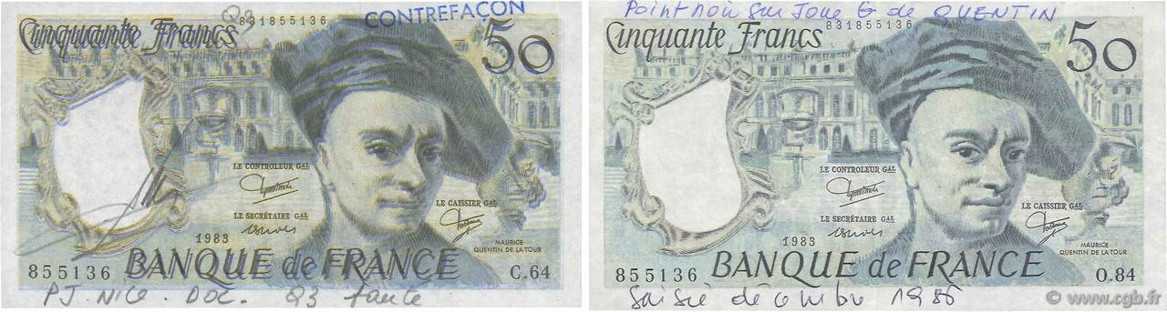 50 Francs QUENTIN DE LA TOUR Faux FRANCE  1976 F.67.00x SUP