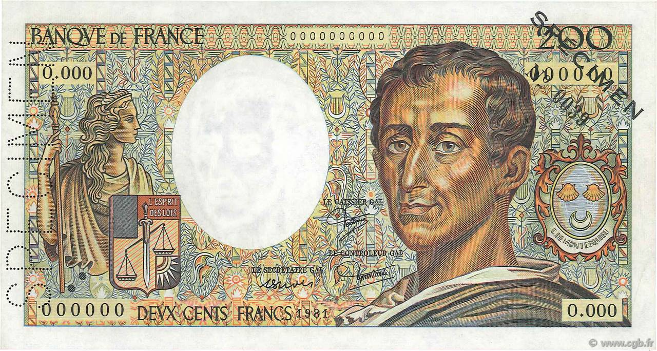 200 Francs MONTESQUIEU FRANCE  1981 F.70.00 SPL