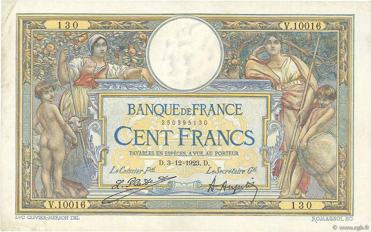 100 Francs LUC OLIVIER MERSON grands cartouches FRANCE  1923 F.24.01 TTB+