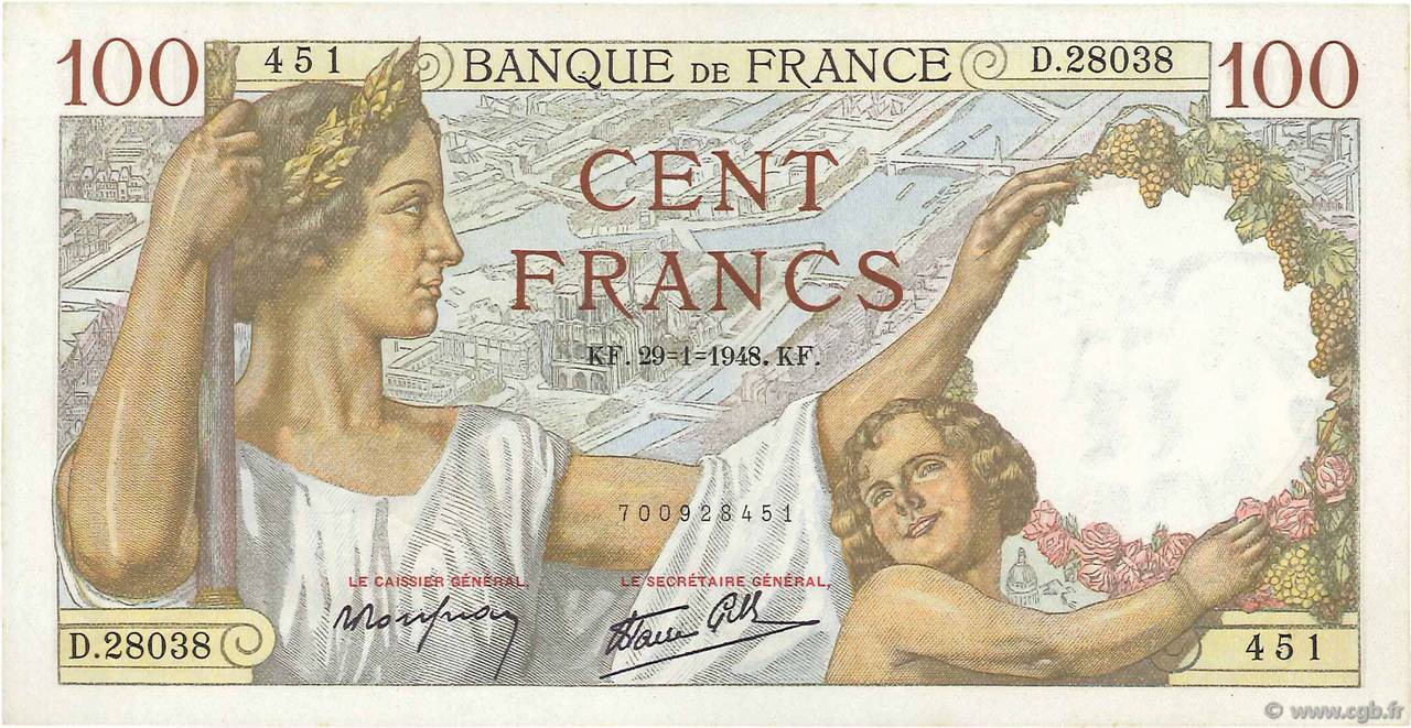 100 Francs SULLY Fauté FRANCE  1942 F.26.65 SUP